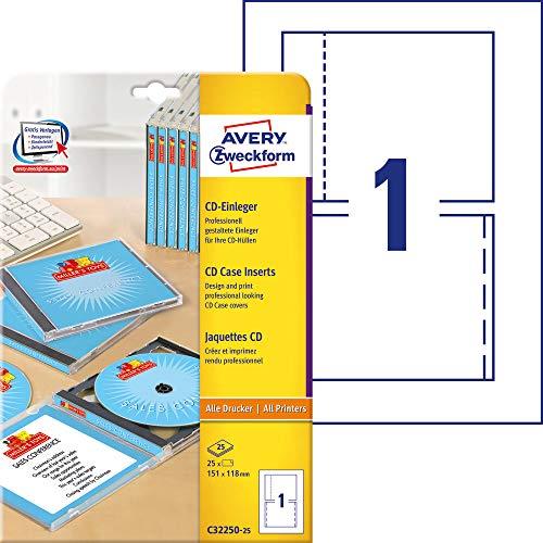 AVERY Zweckform C32250-25 CD-Einleger (25 CD-Cover, 151x118mm auf A4, Vorder- und Rückseite für Standard-Cases, hochwertiges Kartenmaterial, mikroperforiert, Inlays zum Bedrucken) 25 Blatt, weiß