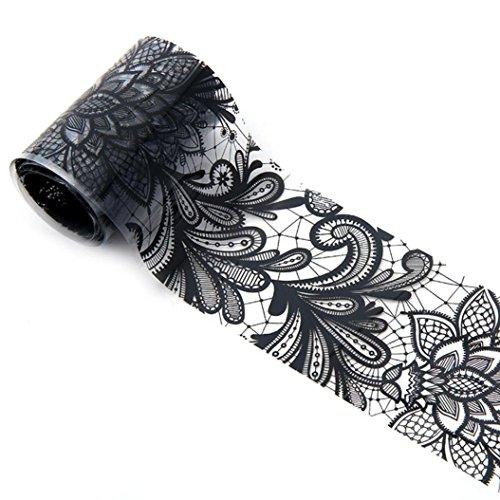 Hunpta 1 rouleau 4*100 cm Noir en dentelle Ciel étoilé Motif Nail Art Foil Stickers transfert Autocollant Conseils Manucure