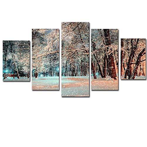 zsBig6 5 Stück Schnee und Baum Modern Home Wall Decor Leinwand Bildkunst HD-Druck Gemälde auf Leinwand Kunstwerke 40x60x2 40x80x2 40x100x1unframed