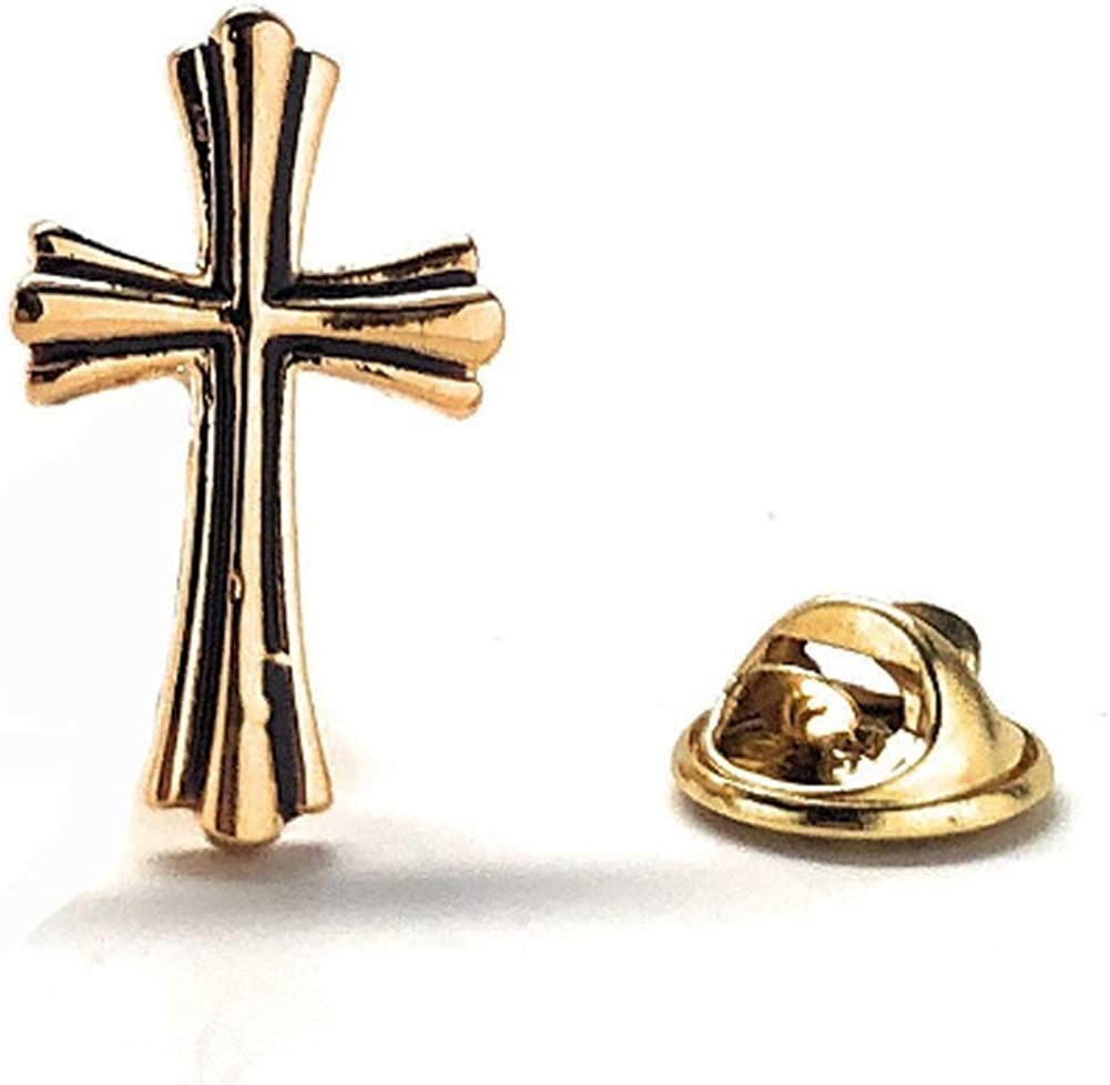 Williams and Clark The Cross Enamel Pin Gold Black Lapel Pin Tie Tack Religious Faith Holy Father Gifts