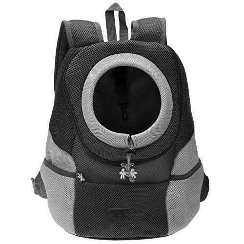 Mogokoyo Airline Approved Cat Dog Backpack, Puppy Pet Carrier Front Bag with Breathable Head Out Design and Double Mesh Padded Shoulder for Outdoor Travel Hiking (M, Black)