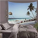 YOYNZY Tropical Island Palm Tree Blue Ocean Tapestry Seaside Summer Beach Scenery Hanging Wall Decor Home Yoga Mat F 150X200cm
