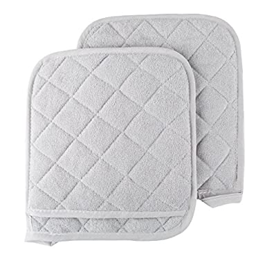 Pot Holder Set, 2 Piece Oversized Heat Resistant Quilted Cotton Pot Holders By Lavish Home (Silver)