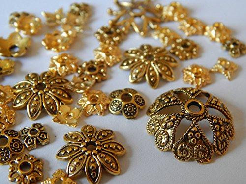 120 Perlenkappen Gold Mix Metallkappen 5mm - 20mm