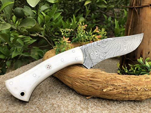 Custom Handmade Twisted Pattern Damascus Steel Immortal Hunting Knife with White Micarta Handle.