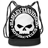 Borse da palestra, Zaini, Harley Skull Drawstring Bag Bundle Backpack Rowing Backpack Sport Bag for Men & Women