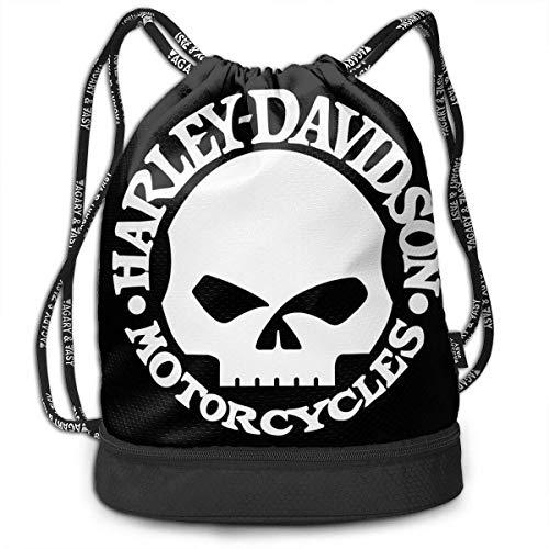 YUYUTE Borse da palestra, Zaini, Harley Skull Drawstring Bag Bundle Backpack Rowing Backpack Sport Bag for Men & Women