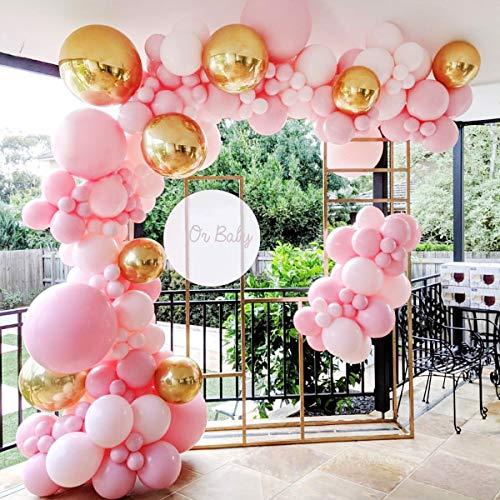 Guirnalda de globos para decoración de fiesta de cumpleaños - Kit de arco de 124 globos rosados y dorados con globo Macaron para guirnaldas de globos rosados para niñas, cumpleaños, baby shower