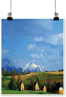 Hanging Painting Mountain Cottage in biei Hokkaido Rich in Color,12