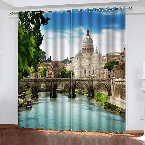 MMHJS Nordic-Style Polyester Waterproof Curtains, 3D Landscape Architectural Printing, Blackout Vertical Blinds, Perforated Balcony, Bedroom Household Items (2 Pieces)