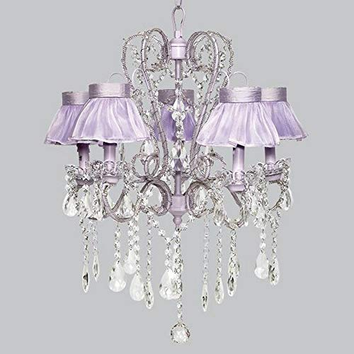 Jubilee Collection 76004-2772 5 Light Whimsical Chandelier with Ruffled Sheer Skirt Shade, Lavender