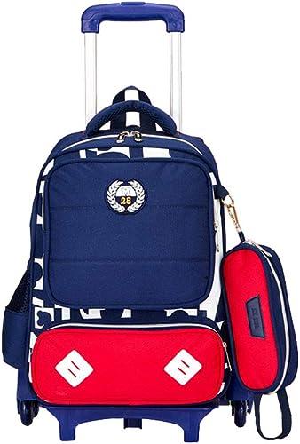 Kinder Trolley Rucksack, Schultaschen Trolley Schulrucksack Rucksack Rollen für Junge und mädchens Backpack Für 6-12 Jahre alt