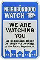高輝度のブリキ看板、近所の時計私たちはあなたに黒/青、白として見ています、ユニークなギフトギフトメタルレトロな壁の装飾ユニークなアートポスター