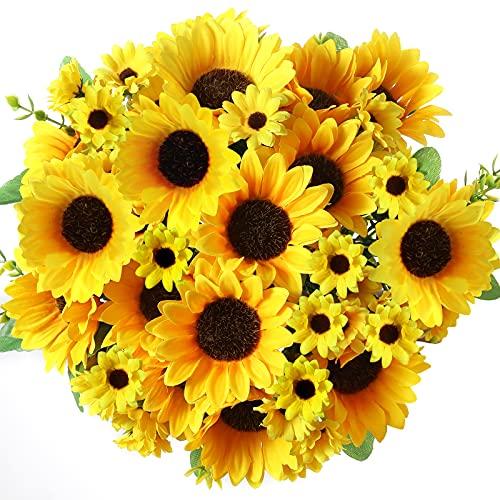 Künstliche Blumen Sonnenblumen Kunststoffblumen Unechte Blumen Innen für Zuhause Garten Fenster Box Hängend Pflanzen Dekor (Sonnenblumen, 4)
