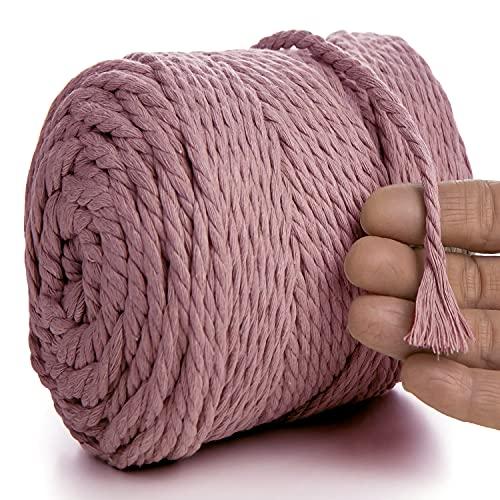 MeriWoolArt Natural cuerda de macramé de colores 6 mm, 100m macramé suave hilo, cuerda algodón reciclado para atrapasueños decoración de macramé DIY tapiz de macramé colgantes de pared macramé ciruela