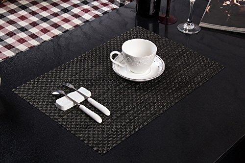 Tischset Platzset Clest F&H 8-8 Schwarz und Grün verdicken Platzmatte gewebt aus Kunststoff 45x30 cm(2er Set)