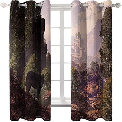 AmDxD 2 paneles de cortinas de poliéster para ventana de baño, dormitorio, cortinas opacas de montaña y árbol de lobo, lavable a máquina, marrón verde, 250 cm de ancho x 240 cm de largo