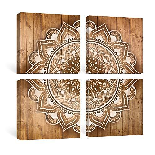 SUMGAR Cuadro en Lienzo Mandala Pared Bohemio Indio Marrón y Blanco Flores Decoración para Dormitorio Comedor Baño Oficina 4 x 30cm 4 Piezas