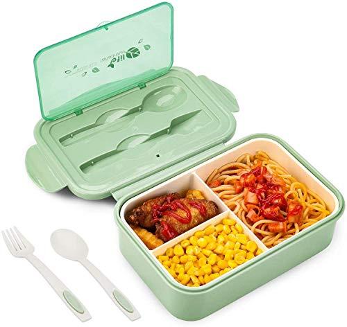 Contenitore per il pranzo in plastica per adulti e bambini, senza BPA, 1000 ml, a prova di perdite, con 3 scomparti e posate, adatto per microonde e lavastoviglie.