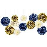 NICROLANDEE 12 pompones de papel de seda azul marino para decoración de fiestas de boda, cumpleaños, despedidas de soltera, decoración de habitación de los niños, accesorios de graduación