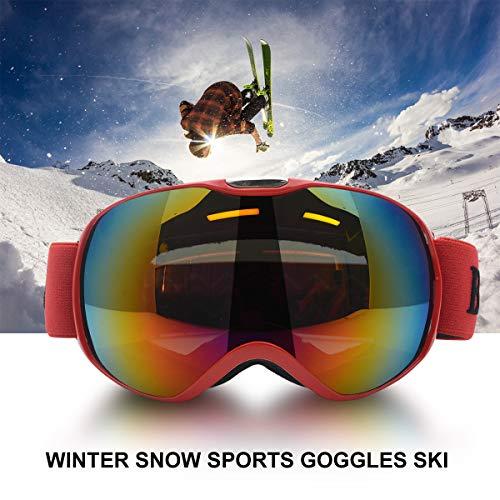 MASO Lunettes de Ski de Plein air pour Enfants, garçons et Filles, Protection UV400, Coupe-Vent, Anti-UV et Anti-Neige