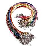 100 Unidades 18*1.5mm Collar de Cera Trenzada de Algodón con Broche de langosta para la Fabricación de DIY Joyerias Joyas Color Mezclado