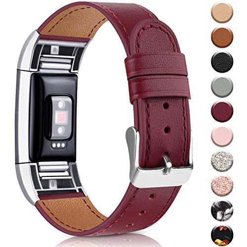 Meliya Leather Bands Compatible with Fitbit Charge 2 Bands for Women and Men, Adjustable Soft Leather Wristband with Metal Clasp for Fitbit Charge 2 (for 5.5