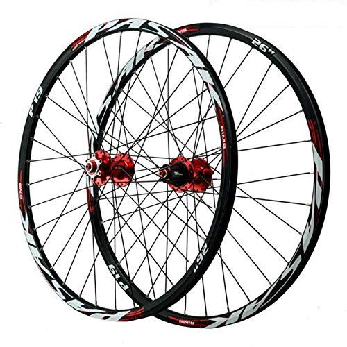 Ruedas de Bicicleta Montaña 26/27.5/29'',Primeros 2 Traseros 5 Rodamientos 8/9/10/11/12 Velocidades Liberación Rápida Freno de Disco (Color : Red hub, Size : 29in)