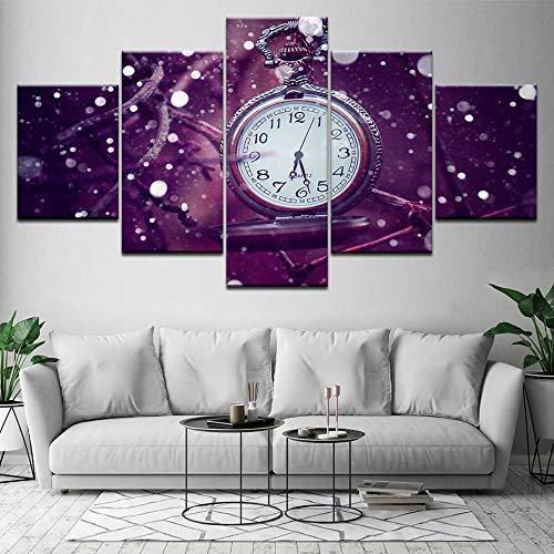 ZLARGEW Reloj de Bolsillo Retro 5 Piezas HD Art Canvas Print Póster Moderno Pintura de Arte Modular para Sala...