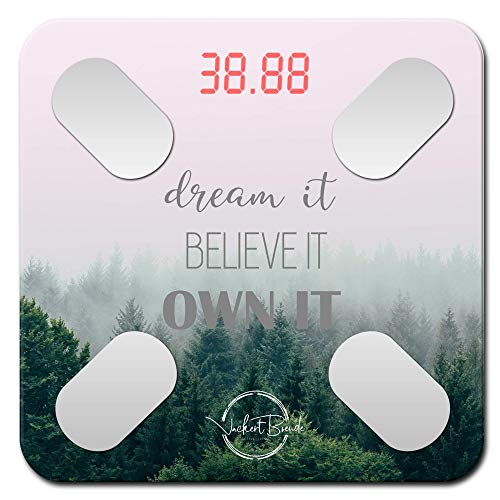 Dream it  Motivational Smart ScaleW Body Fat Scale Body Composition Scale Bathroom Scales Know Your Body Fat Percentage Muscle Mass amp More Modern Motivational DesigniOS amp Android App