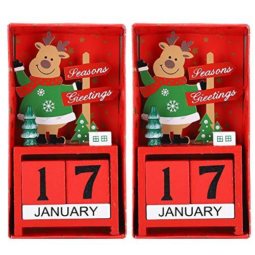 Atyhao 2Pcs Calendario Natalizio, Scatola Rossa per Il Conto alla rovescia Decorazioni Artigianali in Legno Conto alla rovescia Calendario dell'avvento Natalizio per Decorazioni Natalizie