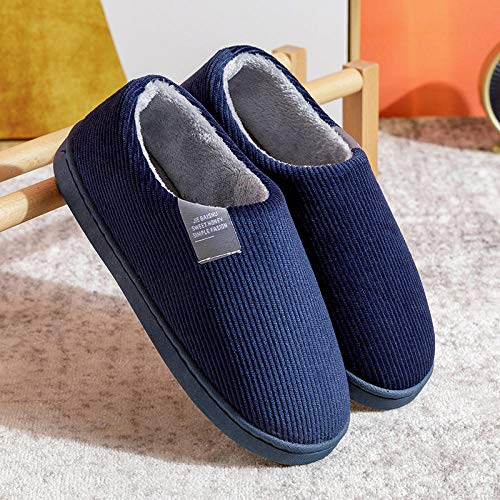 Nwarmsouth Men House Slippers Warm Indoor Outdoor Slip On,Flat-heeled thick-soled cotton shoes, bag-heeled slippers-navy_UK7.5-UK8.5,Ladies Mens Comfort Slippers