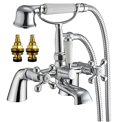 Grand Taps Traditional Cross Handles Bath Filler Tap with Shower (Viscount 4) by
