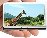 Tarjeta de visita profesional, estuche de tarjeta de crédito/identificación de Grass giraffe landscape