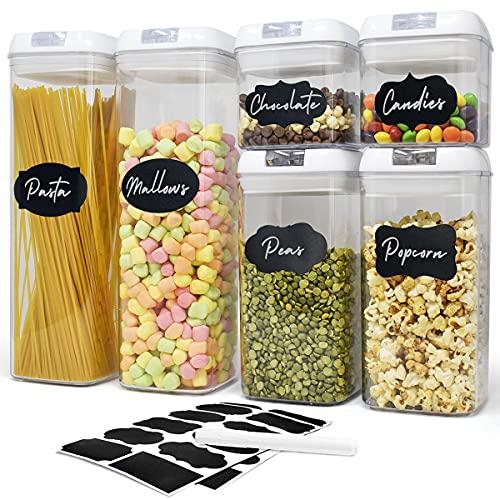 6 Recipientes de Plástico Transparente para Almacenamiento de Alimentos con Tapas Herméticas - Varios tamaños, Alimentos Secos y líquidos