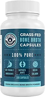 Grass-Fed Bone Broth Capsules with Collagen from Organic Bone Broth Powder - 180 Pills. Collagen Supplement from Organic B...
