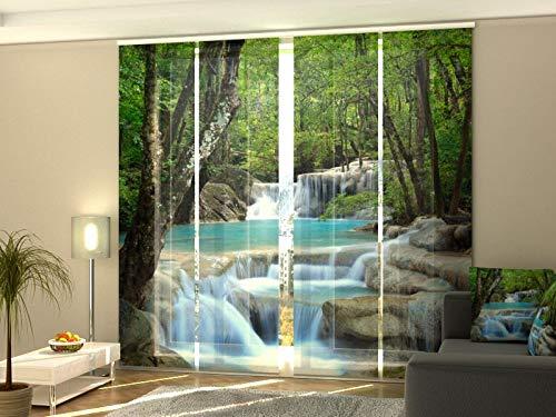 Wellmira Fotogardine, Flächenvorhang, Fotodruck, Schiebevorhang, Bedruckte Schiebegardinen, Gardine mit Motiv, auf Maß (4 x 245x70)