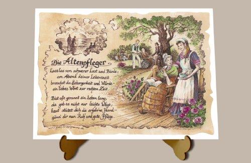 Die Staffelei Geschenk Altenpfleger Altenpflege Zeichnung Color 30 x 21 cm mit Aufsteller