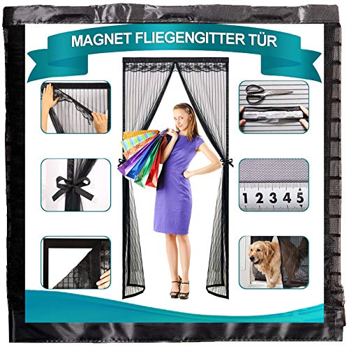 Timizi Fliegengitter TüR Magnetisch 120x205cm, Insektenschutz Mückenschutz Tur Klettverschluss Moskitonetz Magnetverschluss Faltbar, für Balkontür Terrassentür. - Schwarz