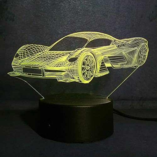 Solo 1 pieza Cool 3D Illusion Night Light Sports Sport Car Color Led Boys Dormitorio Lámpara Juguete Regalo Fiesta Decoración Lámpara