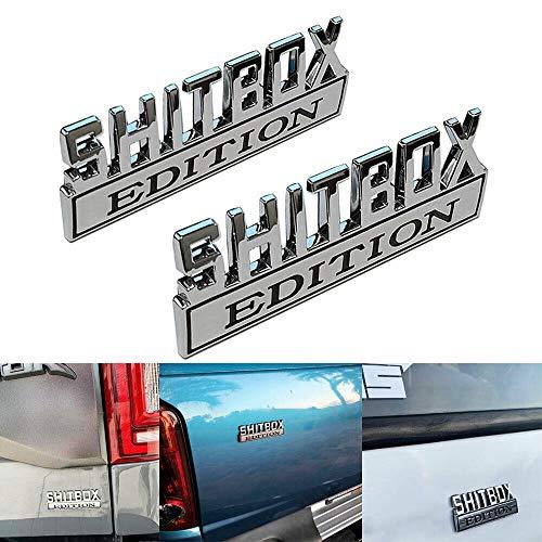 2pcs SHITBOX EDITION Emblems 3D Badge Car Decal for F150 F250 F350 Chevy Silverado 1500 2500 Chevrolet C10 C15 Truck Sticker Chrome/Black