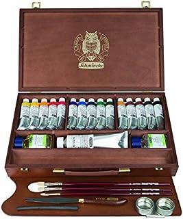 Schmincke Künstlerfarben, MUSSINI® Ölfarbe, Malkasten, Holzkasten mit 15 x 35ml Tuben, 1 x 150ml Weiß und Zubehör