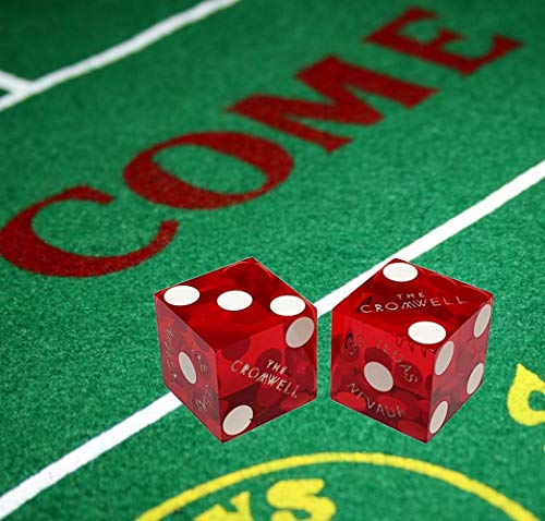 Cyber-Deals Würfel im Las Vegas-Stil, Filz-Layout + Paar 19 mm authentische Nevada Casino Tisch-Würfel, The Cromwell (Red)