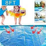 Protector de piscina redondo de ELEWELT, cubierta solar para piscinas redondas con marco para piscinas redondas de suelo y de above