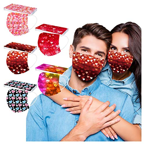 【Shiping from US!!!】 Disposable Face_mask for Adults, Christmas_Masks for Men, Women,Made in USA,Valentine's Day Printing Face_Covering with Ear Loops & Nose Wire
