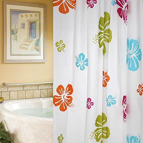 Behavetw badkamer douchegordijn, 180x200cm waterdichte meeldauw bestendig douchegordijn met haken 6 gedrukt patroon voor thuis badkamer raamdecoratie (Hibiscu)