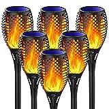 Fortand Luz Solar Exterior Llama Jardin, 6 Pack Antorchas Solares Exterior, IP65 Impermeable Inalámbricas, Interruptor Automático, Luces Solares para Exterior Jardin, Terraza, Patio, Fiestas