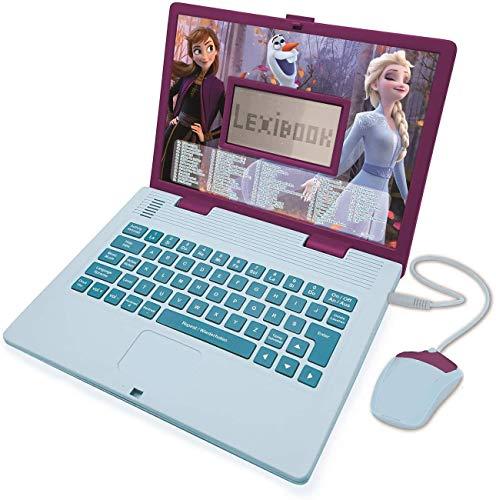 LEXIBOOK- Disney Frozen 2 – Ordenador portátil Educativo y bilingüe alemán/inglés – Juguete para niñas con 124 Actividades para Aprender, Jugar y música con Elsa & Anna – Azul/Morado, JC598FZi3