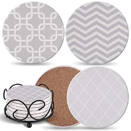 Coasters For Drinks Absorbent with Holder - 6 Gray Ceramic Stones with 3 Patterns & Cork Back, Use as House Decor, Living Room or Coffee Bar Decor, Outdoor Coasters - Ultimate Housewarming Gift