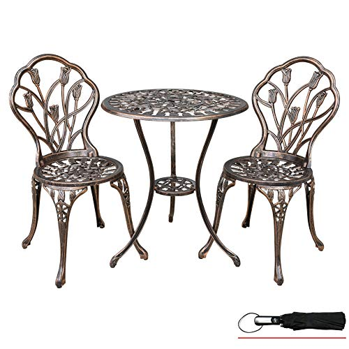 LZRS 3-Piece Outdoor Patio Bistro Set Table and Chairs Furniture w/Tulip Design for Garden, Porch, Backyard, Cast Aluminum with Umbrella Hole, Durable Rust Weather Resistance, Antique Bronze